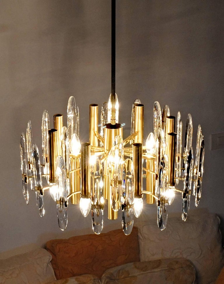 Sciolari Gold Brass Led Crysal Mid-century Chandelier 12 Lights Stilkronen  70s  For Sale 6