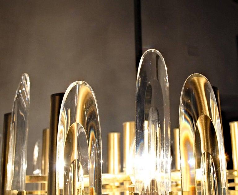 Sciolari Gold Brass Led Crysal Mid-century Chandelier 12 Lights Stilkronen  70s  For Sale 7