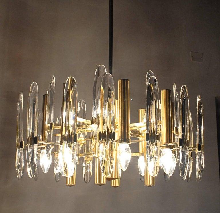 Sciolari Gold Brass Led Crysal Mid-century Chandelier 12 Lights Stilkronen  70s  For Sale 9