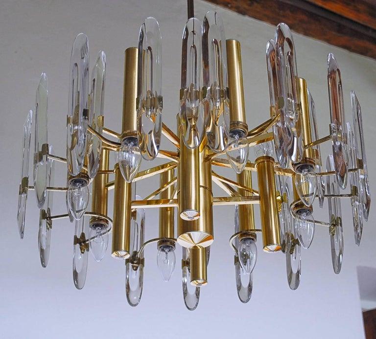 Sciolari Gold Brass Led Crysal Mid-century Chandelier 12 Lights Stilkronen  70s  For Sale 10