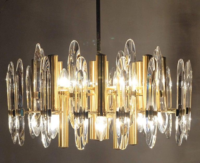 Sciolari Gold Brass Led Crysal Mid-century Chandelier 12 Lights Stilkronen  70s  For Sale 11