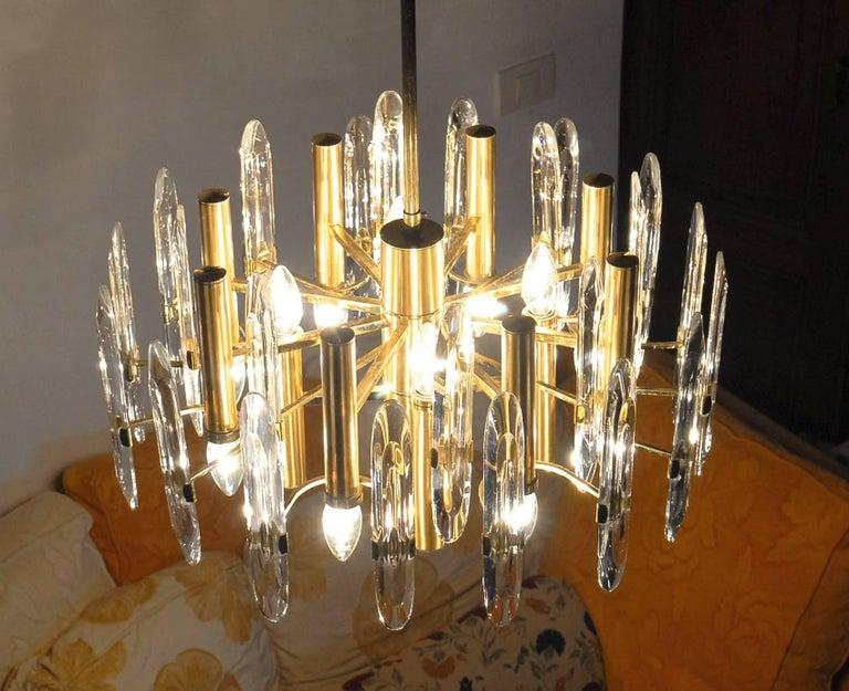 Sciolari Gold Brass Led Crysal Mid-century Chandelier 12 Lights Stilkronen  70s  For Sale 12