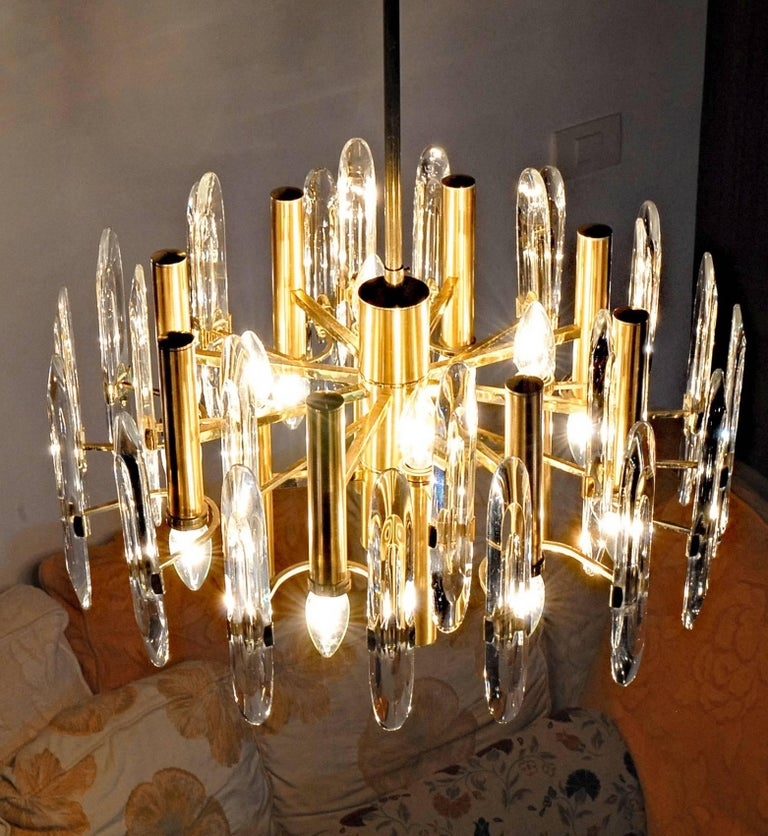 Mid-Century Modern Sciolari Gold Brass Led Crysal Mid-century Chandelier 12 Lights Stilkronen  70s  For Sale