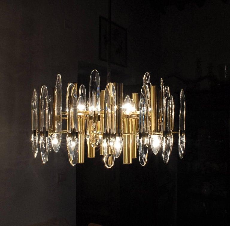 Italian Sciolari Gold Brass Led Crysal Mid-century Chandelier 12 Lights Stilkronen  70s  For Sale