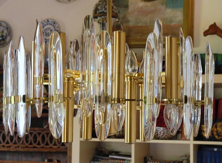 Sciolari Gold Brass Led Crysal Mid-century Chandelier 12 Lights Stilkronen  70s  In Good Condition For Sale In Tavarnelle val di Pesa, Florence