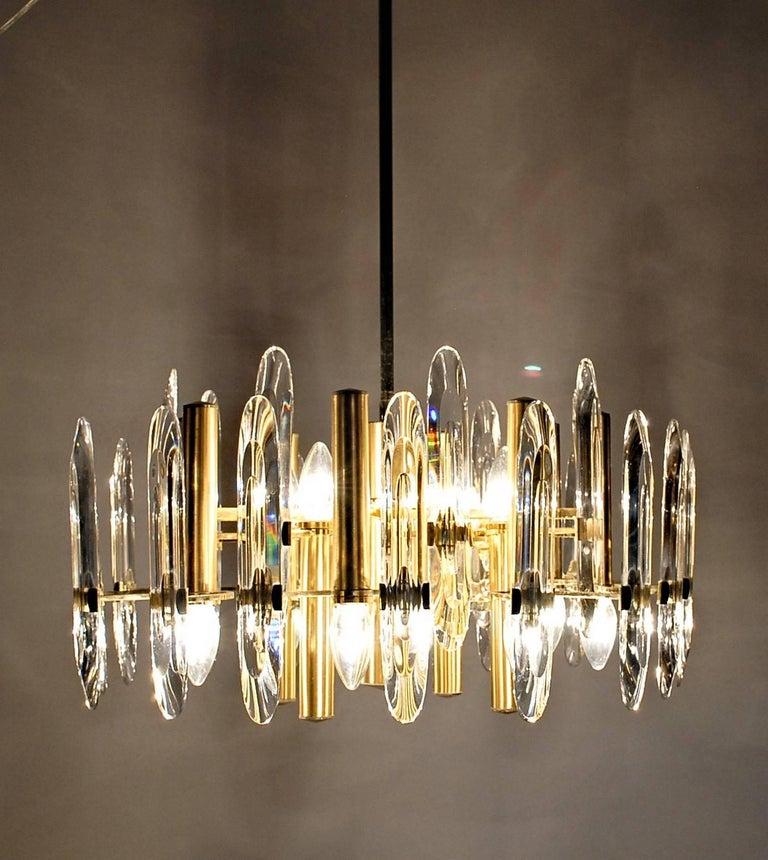 Late 20th Century Sciolari Gold Brass Led Crysal Mid-century Chandelier 12 Lights Stilkronen  70s  For Sale