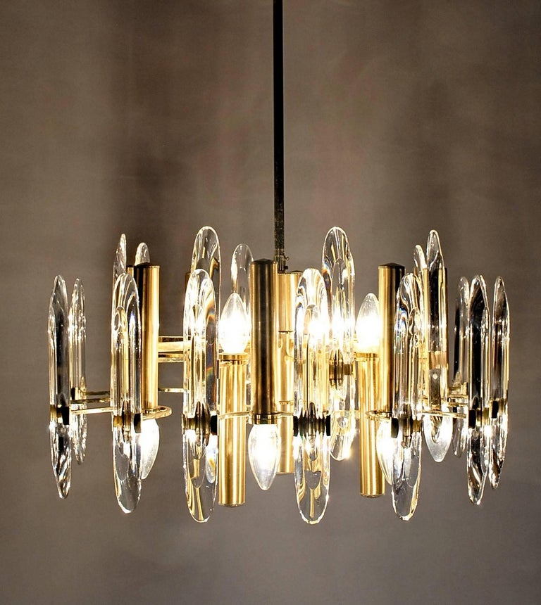 Gold Plate Sciolari Gold Brass Led Crysal Mid-century Chandelier 12 Lights Stilkronen  70s  For Sale
