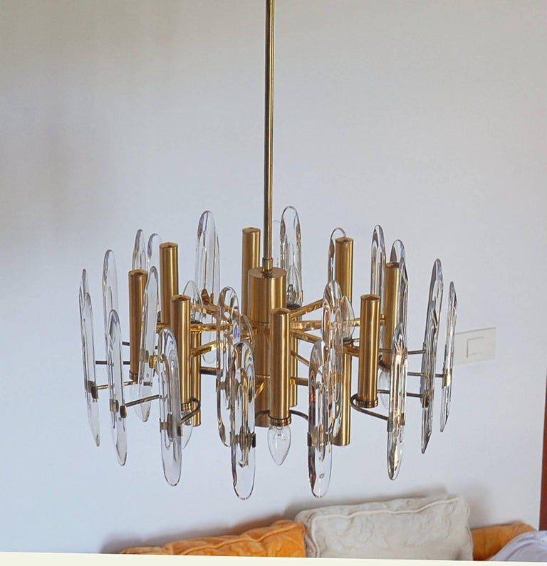 Sciolari Gold Brass Led Crysal Mid-century Chandelier 12 Lights Stilkronen  70s  For Sale 1