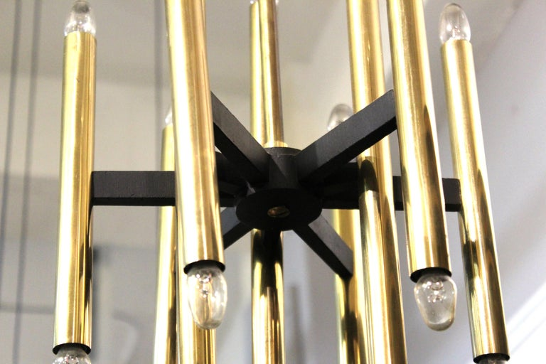 Sciolari Italian Modern Brass Ceiling Pendant Chandelier In Good Condition For Sale In New York, NY