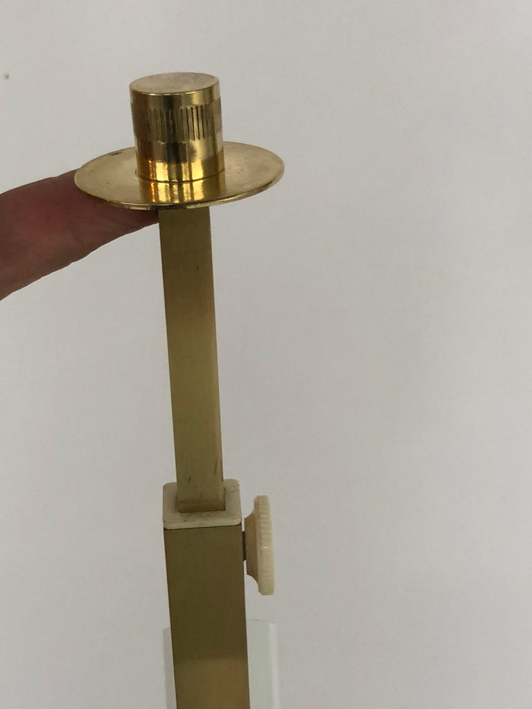 Sciolari Large Travertine and Brass Table Lamps For Sale 7