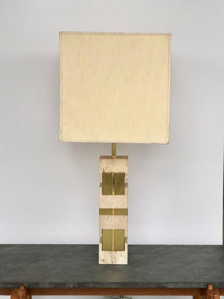Italian Sciolari Large Travertine and Brass Table Lamps For Sale