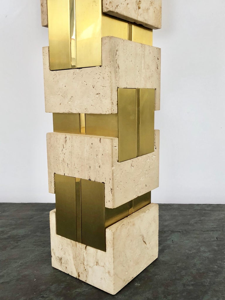 Sciolari Large Travertine and Brass Table Lamps For Sale 2
