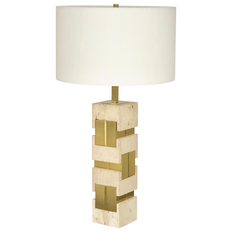 Sciolari Large Travertine and Brass Table Lamps