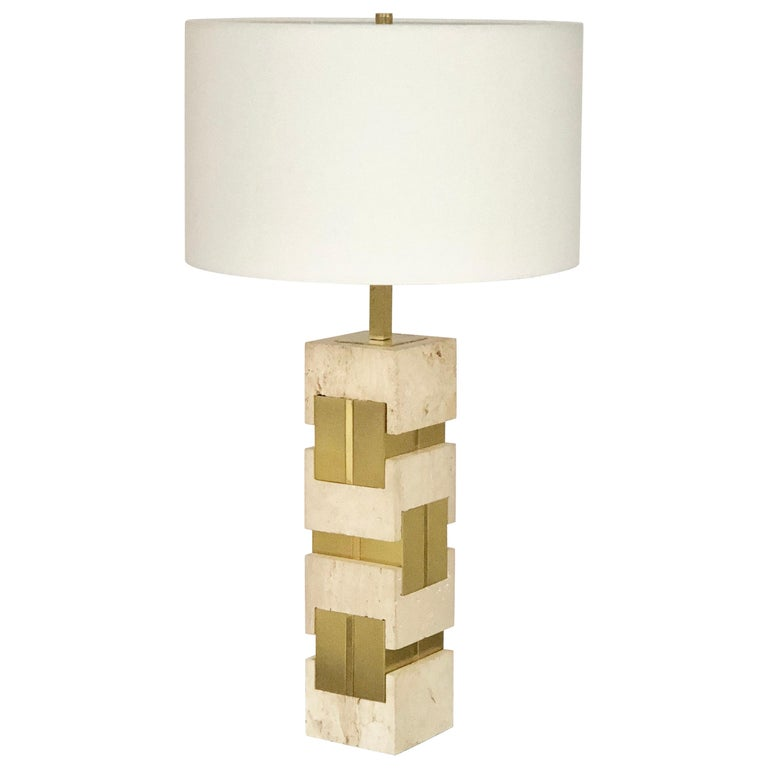 Sciolari Large Travertine and Brass Table Lamps For Sale