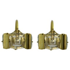 Sciolari Mid-Century Modern Italian Brass and Lenticular Glass Sconces, Pair
