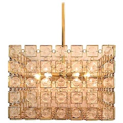 Sciolari of Italy 1970s Gold & Crystal Disk Geometric Chandelier 1 of 2