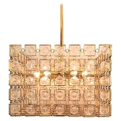Sciolari of Italy 1970s Gold & Crystal Disk Geometric Chandelier 2 of 2