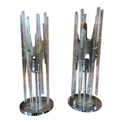 Sciolari Pair of Modern Cylindrical Glass and Chrome Table Lamps, Italy, 1970s