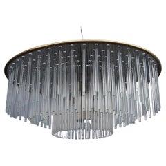 Sciolari Round Brass and Steel Minimal Chandelier Italian Design Crystall, 1960