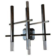 Sciolari Sconces Metal Nikel Plexiglass, 1970, Italy