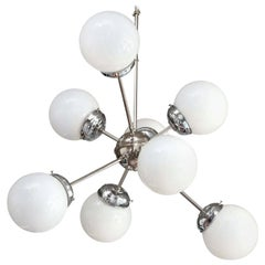 Sciolari Style 8-Arm Torchère White Globe and Chrome Plate Sputnik Chandelier