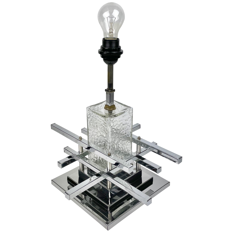 Sciolari Table Lamp Metric Chrome and Glass, Italy, 1970s