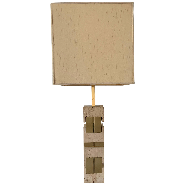 Sciolari Travertine and Brass Table Lamp