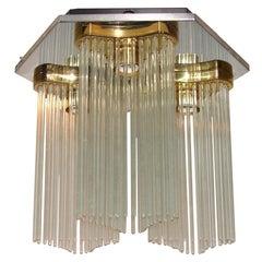 Sciolari Triple Lantern Flushmount with Glass Rods