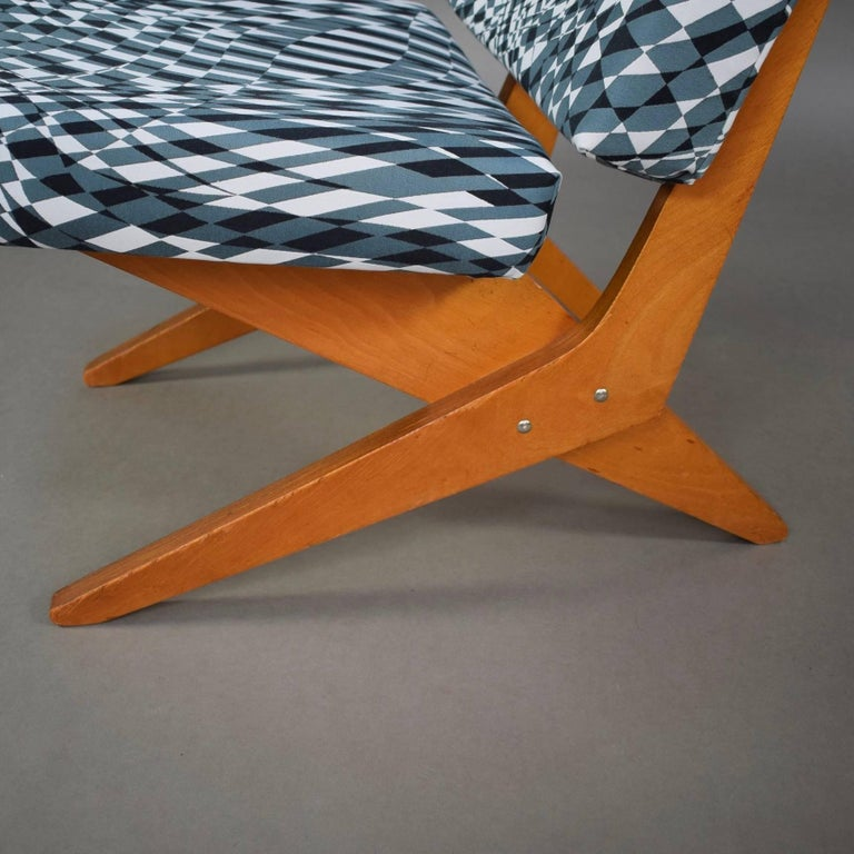 Mid-20th Century Scissor Lounge Chair by Jan Van Grunsven for Pastoe, New Upholstery, 1957 For Sale