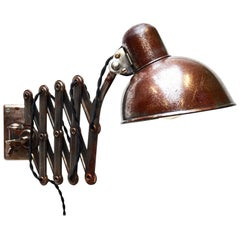 "Scissor Wall Lamp Kaiser Idell by Dell, ""Rough"" Varnished, Germany"