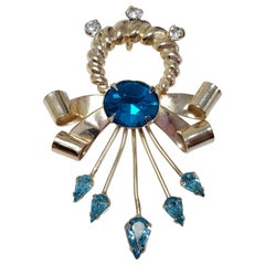 Scitarelli Flower and Bow Blue and White Crystal Pin Brooch Pendant, 1950s