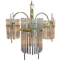 Sciolari Design Crystal Rods and Brass Trim Three Arm Chandelier, Italy, 1970s