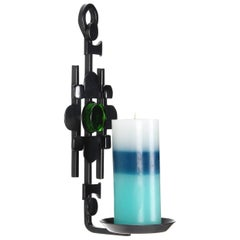 Sconce Black Iron Candleholder with Green Glass by Danish Dantoft in the 1960s