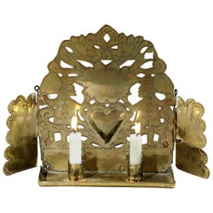 Sconce Double-Candle Brass Pierced Baroque Wings Hanging Freestanding