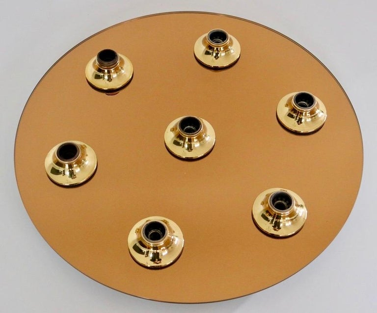 Mid-Century Modern Sconce / Flush Mount in Glass and Brass For Sale