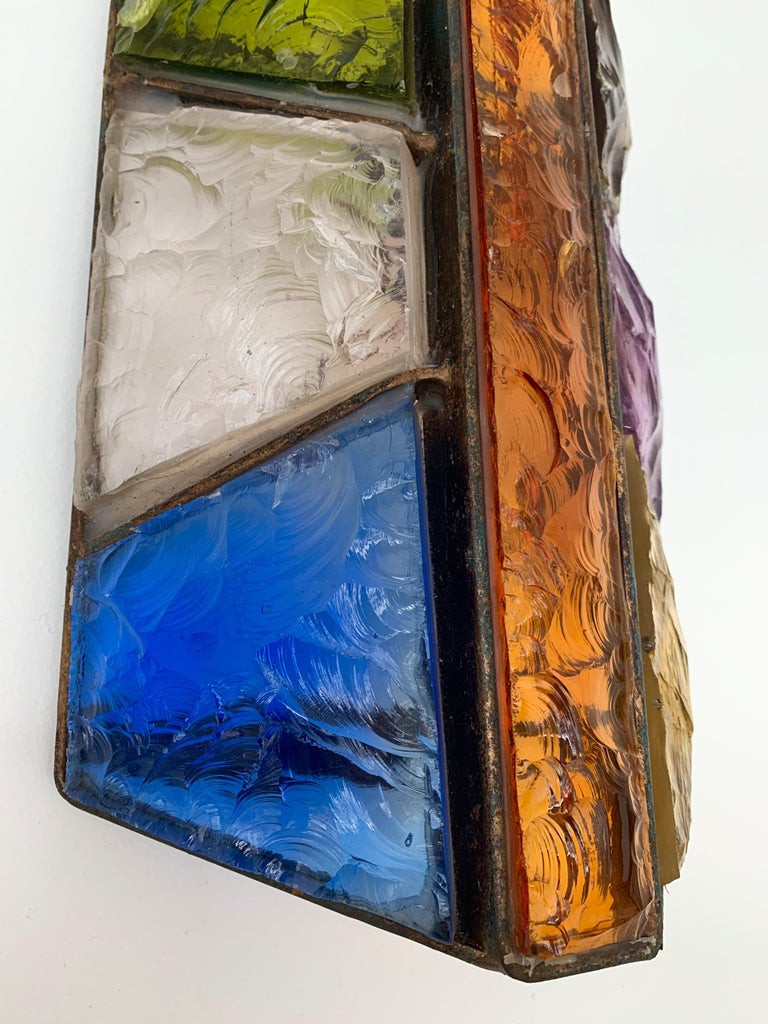 Brutalist Sconce Hammered Glass and Metal by Longobard, Italy, 1970s For Sale