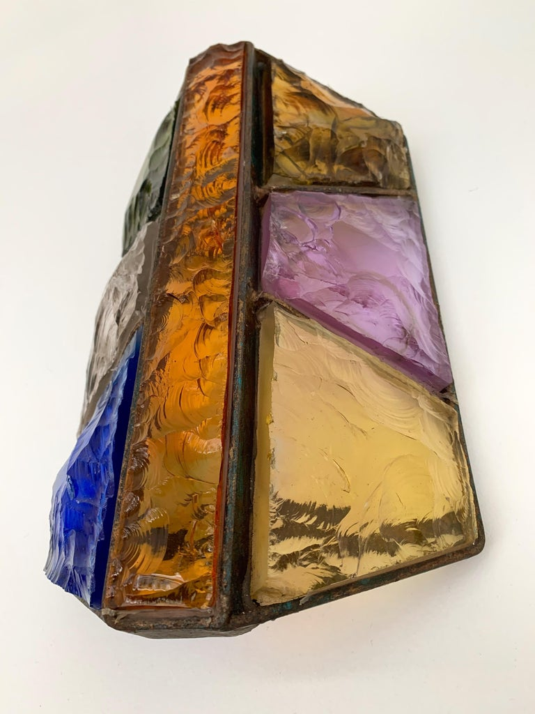 Sconce Hammered Glass and Metal by Longobard, Italy, 1970s In Good Condition For Sale In SAINT-OUEN, FR