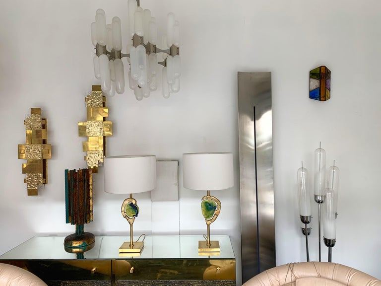 Late 20th Century Sconce Hammered Glass and Metal by Longobard, Italy, 1970s For Sale