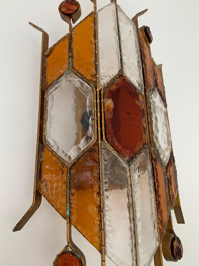 Italian Sconce Hammered Glass by Longobard, Italy, 1970s For Sale