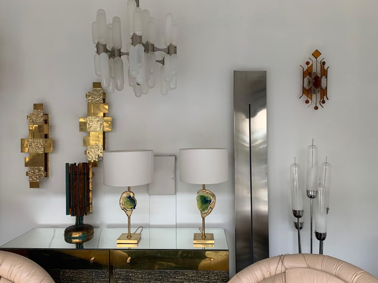 Sconce Hammered Glass by Longobard, Italy, 1970s In Good Condition For Sale In SAINT-OUEN, FR