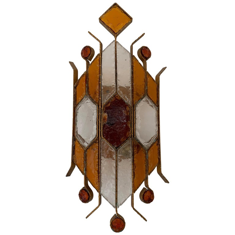 Sconce Hammered Glass by Longobard, Italy, 1970s For Sale