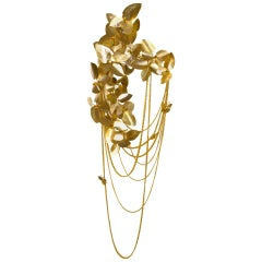 Sconce in Gold-Plated Brass with Amber Swarovski Crystals