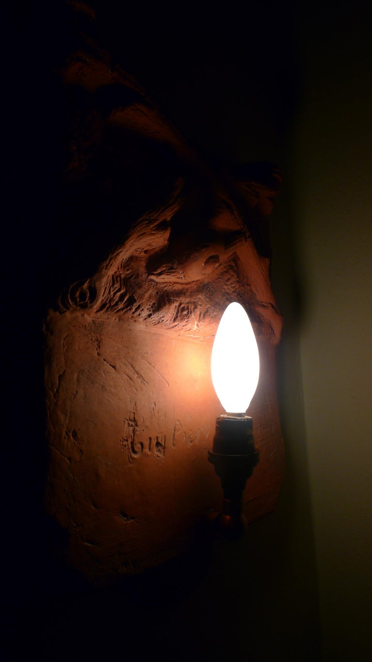 Sconce Light from French Terracotta Garden Stone Signed by Artist, circa 1700s For Sale 7