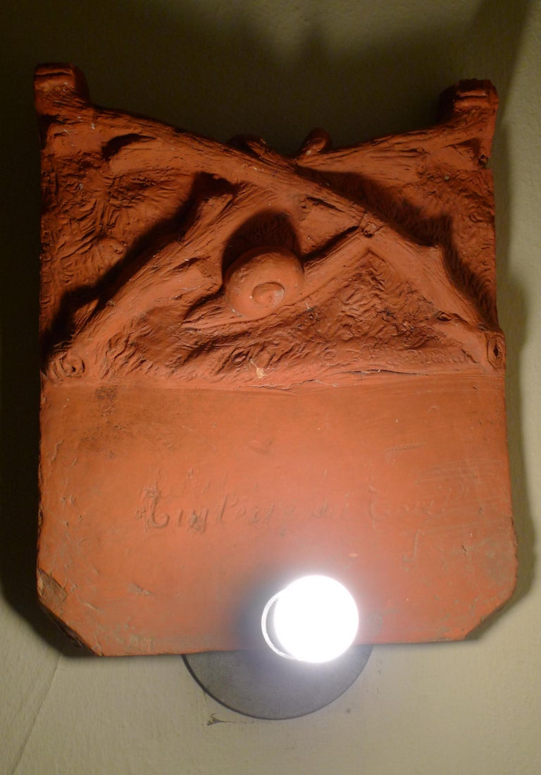 Sconce Light from French Terracotta Garden Stone Signed by Artist, circa 1700s For Sale 9