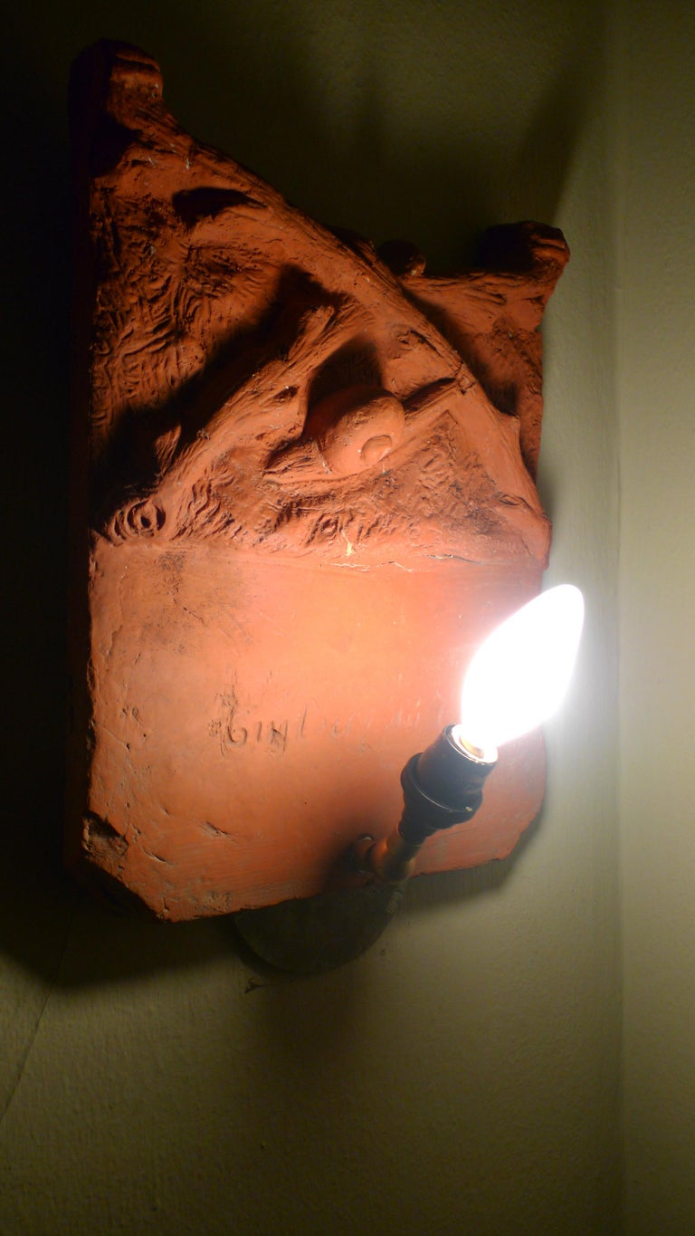 Sconce Light from French Terracotta Garden Stone Signed by Artist, circa 1700s For Sale 11
