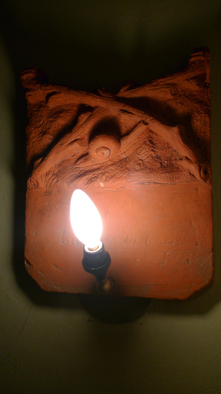 Sconce Light from French Terracotta Garden Stone Signed by Artist, circa 1700s For Sale 12
