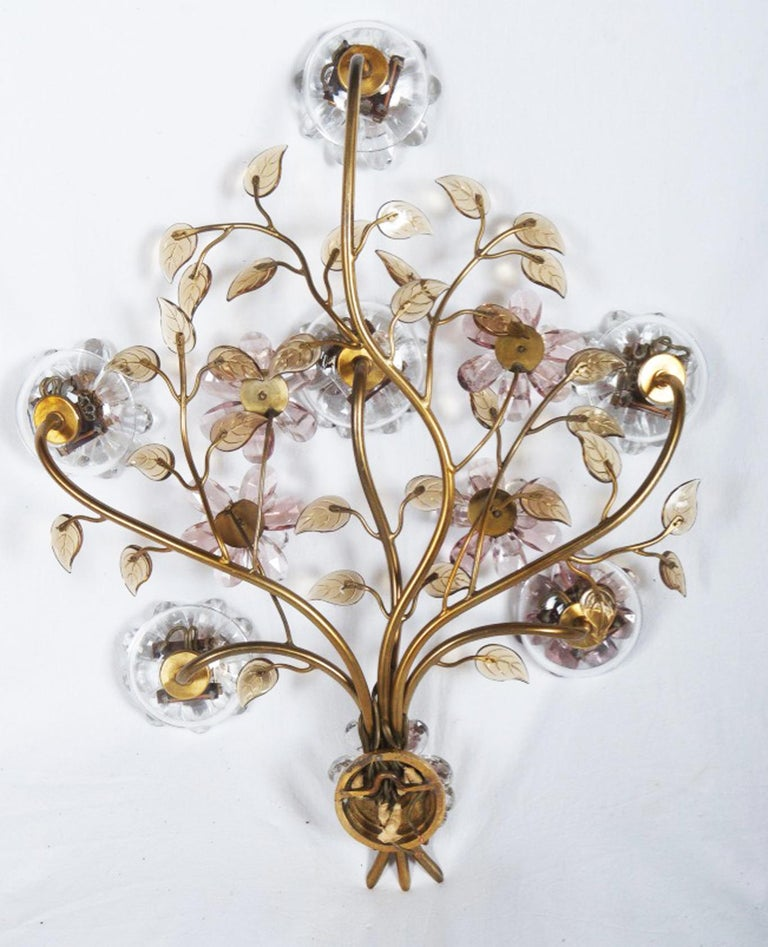 Austrian Sconce with Glass Flowers by Lobmeyr  For Sale