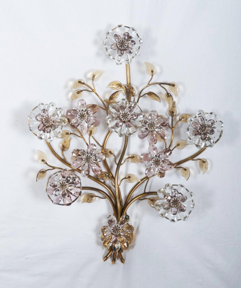 Mid-20th Century Sconce with Glass Flowers by Lobmeyr  For Sale