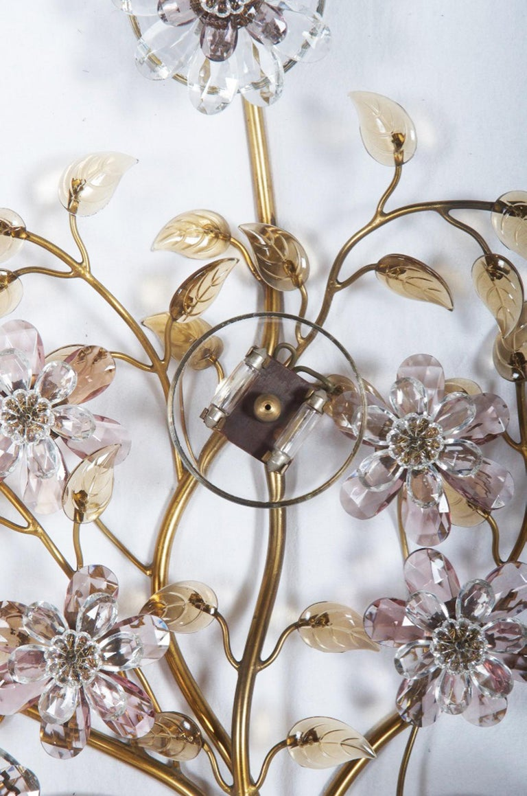 Brass Sconce with Glass Flowers by Lobmeyr  For Sale