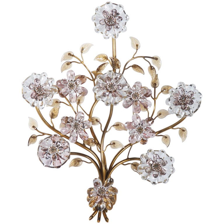 Sconce with Glass Flowers by Lobmeyr  For Sale